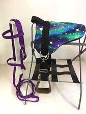 MINIATURE HORSE / SM PONY BAREBACK SADDLE PAD SET - BITLESS BRIDLE STRY PURPLE