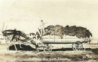 CF-468 Down on the Farm Wagon Pulled by Grasshoppers Real Photo Postcard RPPC
