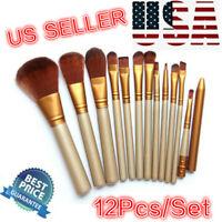 12 Pro Makeup Brushes Set Powder Foundation Eyeshadow Lip Brush Cosmetic Tools