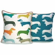 Sausage Dog Filled Cushion Polycotton Cover Colourful Kids Adults 2 in 1 Design