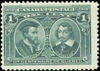 Mint NH Canada F+ Scott #97 1c 1908 Quebec Tercentenary Issue Stamp