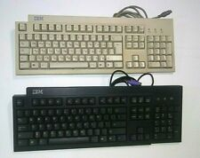 Two Vintage IBM Computer Keyboards Model KB-7953 and KB-9910 white&black bundle