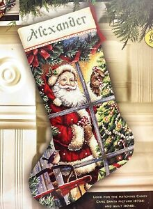 """DIMENSIONS Gold """"Candy Cane Santa Stocking"""" Christmas Counted Cross Stitch Kit"""