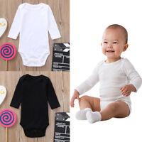 Newborn Toddler Infant Baby Girl Boys Long Sleeve Bodysuit Romper Jumpsuit Solid