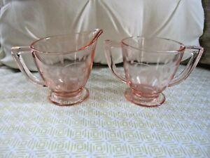 Vintage Pink Depression Glass ETCHED FLORAL Flower Creamer & Sugar Bowl