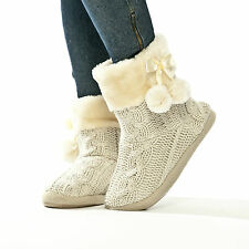 Ladies Slippers Women's SLIPPER Boot Faux Fur Lined With Pom Poms