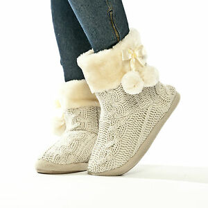 Slippers Womens Indoor Slipper Boots Ladies Bootie Knitted Size 3 4 5 6 7 8
