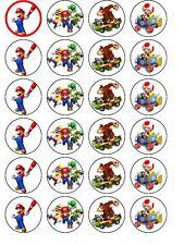 24 x Mario Luigi pre tagliato cialda di carta DECORAZIONI PER TORTA DI COMPLEANNO