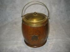 Rare Antique English Wood Silverplate Tobacco Jar Humidor With Shield ~ As Is