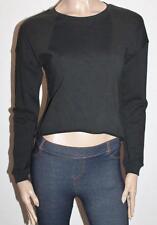 Bardot Designer Black Cut Off Long Sleeve Sweater Top Size XXS BNWT #SZ25
