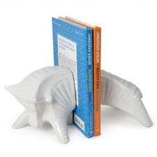 Modern Jonathan Adler White Ceramic Pottery Barn Bull Bookends $138 Retail