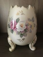 Vintage Napcoware Ceramic 3-Footed Egg Planter Vase Cream with Roses & Gold Trim