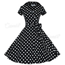 Women's Polka Dot Vintage 1950s Rockabilly Casual Party Classical Swing Dress UK Size 8 Black & White
