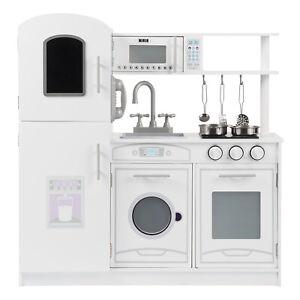 Kinderküche Spielküche küchenset Zubehör Kochgeschirr Wasserhahn Holzküche Weiß