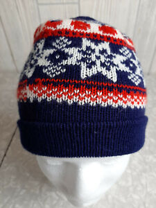 Vintage 80s 90s Kid's Winter Hat Navy Blue Nordic Red Snowflake Beanie Acrylic