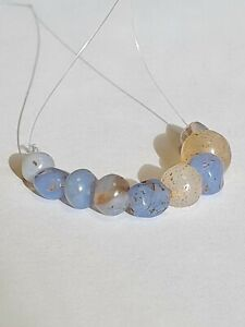 ANCIENT RARE BLUE CHALCEDONY BEADS.