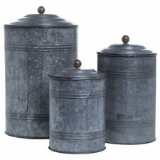 GALVANIZED CANISTERS SET /3 ~ TIN ANTIQUE STYLE STORAGE CONTAINER WITH LID