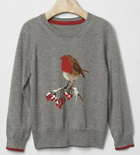 BABY GAP GIRL GREY HEATHER BIRD SWEATER NW 3T N12