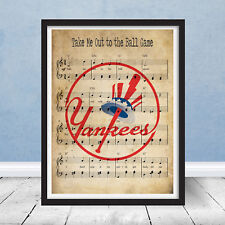 Take Me Out to Ball Game New York Yankees Logo Music Print Wall Art Gift Bronx