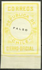 CHILE, OFFICIAL SEAL, ESSAY, SCARCE PIECE, MNH, FULL GUM, YEAR 1900, YELLOW