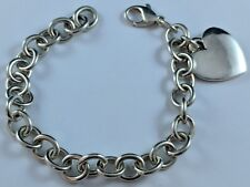 "James Avery Sterling Silver Classic Cable Bracelet w/ Heart 8"" FREE SHIPPING"