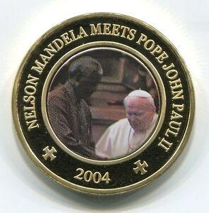 Somalia 2004 Mandela meets Pope John Paul II 25 Shillings UNC Colorized Coin