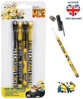 DESPICABLE ME MINIONS PENCIL POP UP STACKER Kids Stationery Home School Gift NEW