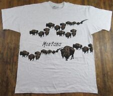 NOS Vintage 90's BUFFALO MIGRATION MONTANA All Over Heather Gray T Shirt Size XL