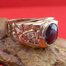 Klassischer Saphir Brillant Unisex Ring in 585 Gelbgold 0,08 ct.