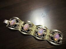 """925 Sterling Silver Signed VTG Navajo Cabochon Fire Opal or Not Bracelet 7""""=45g"""