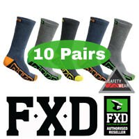 10 Pairs FXD Long Crew Work Socks Multi Colour Workwear SK1 Size 7-12 75% Cotton