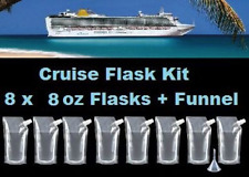 Cruise Flask Kit (8x 8oz + Funnel) Smuggle Rum Alcohol Liquor Plastic Runner