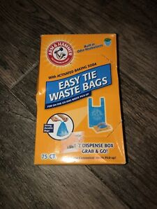 New Arm & Hammer Easy Tie Waste Bags Roll & Dispenser Free To Go Pack 75 Count