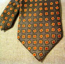 Jhane Barnes Silk Tie Orange Green Abstract Geometric Pop Art Pattern