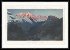 Altelsgruppe im Alpenglühen Bern Schweiz coloriert Rüdisühli  Faksimile_C 1151