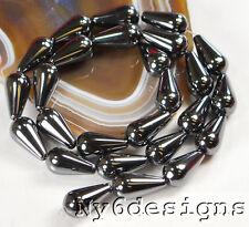 "15x8mm Natural Hematite Teardrop Beads 15"" (HE17)c for DIY Jewelry"