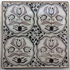 "Antike Fliese Delft Kachel Dutch Tile "" Drietulp "", 2. Hälfte 19. Jhd."