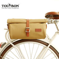 Tourbon Bike Tail Rack Bag Saddle Satchel Pannier Roll Up Cycling Classic Canvas