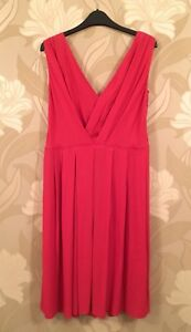 Jigsaw A-line Sleeveless V-neck and back Midi Dress In Coral Size 14