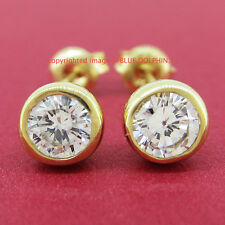 Genuine Real Solid 9ct Yellow Gold Round Cut Stud Earrings Simulated Diamonds