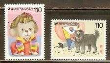 Mint Korea 1994 Year of the Dog stamps Set Scott#1749-1750 (MNH)