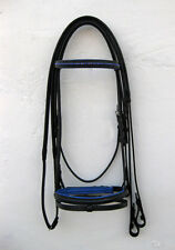 LEATHER HORSE DIAMANTE BRIDLE PADDED IN BLACK / ROYALBLUE COLOR IN FULL,COB,PONY
