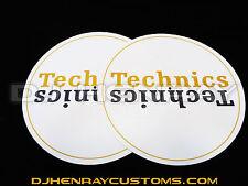 Technics white & gold Dj Slipmats (pair) sl1200mk2 mk5 m3d m5g or any turntable