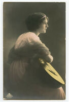 1910s Vintage BEAUTIFUL YOUNG LADY Beauty with Guitar photo postcard