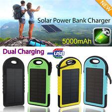 2016 5000mAh Portable Solar Charger 2USB External Battery Power Bank Waterproof
