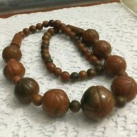 RARE VINTAGE ORNATE CHUNKY  CLAY INLAY STONE BEAD STATEMENT NECKLACE WOW!
