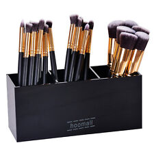 3 Grids Black Acrylic Cosmetic Organiser Lipstick Brush Holder Makeup Storage US