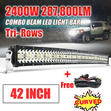 42 inch 2400W Curved LED Light Bar TRI-ROW Combo Off-road Driving Work MPV 40""