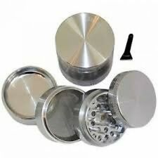 """GENERIC SILVER Four Piece NEW STYLE 2 1/4"""" Herb Spice or Tobacco Pollen Grind..."""