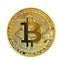 1 Pc Pièce Bitcoin Couleur or finition parfaite, médaille de 40 mm de diamètre